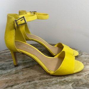 Gianni Bini Yellow Leather Heels sz 7 ankle strap